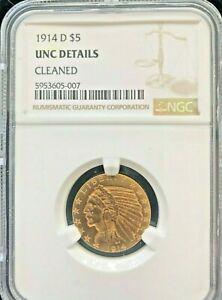 1914-D INDIAN $5 GOLD HALF EAGLE GRADED NGC UNC DETAILS