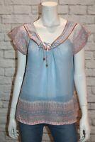 Sportsgirl Brand Blue Bohemian Print Cotton Blouse Top Size S #AN02