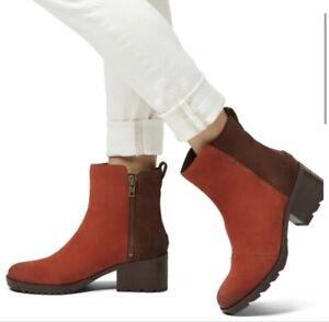 NWT Sorel Size 5 Cate Block Heel Ankle Boots Color Block Carnelian Red $170