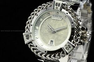 Invicta 53mm Reserve Bolt Hercules All Silver Automatic Meteorite Dial SS Watch