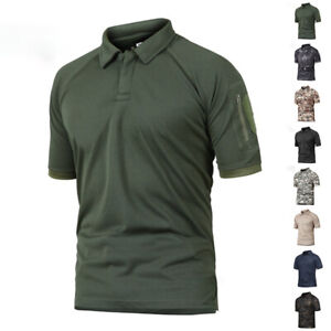 Men's Tactical Polo T-Shirt Short Sleeve Quick Drying Military Army Combat Tops