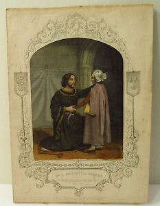 HAND COLORED LITHOGRAPH PRINT - SHAKESPEARE KING JOHN ACT 4 - PAINE OF ISLINGTON