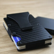 Men Slim Carbon Fiber Credit Card Holder RFID Blocking Metal Wallet Money Clip