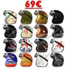 Casco Moto Jet Origine Primo Grafica a Scelta 3 Bottoni con Occhiali Vintage