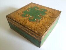 VINTAGE MID CENTURY FLORENTINE TOLEWARE GOLD LEAF VERDIGRIS SQUARE HINGED BOX