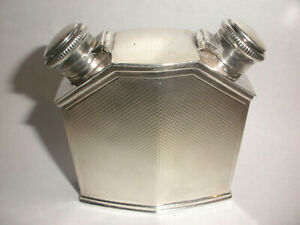 Rare English sterling silver divided flask William Base & Sons Birmingham