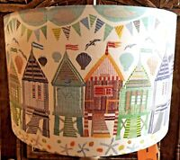 Beach hut Lampshade Pastel, shabby chic, light shade seaside, nautical,Free Gift
