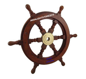 """Maritime Wooden Ship Wheel Pirate Captain Decor 15"""" Ships Boat Steering Wood ."""