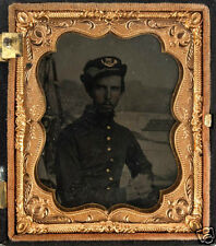 Exceptional Ambrotype Photograph Civil War Soldier w/Merrimack Naval Background