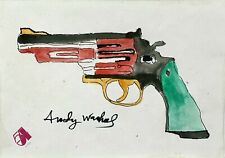 ANDY WARHOL 1970s POP-ART ORIGINAL INK DRAWING, Pink GUN, RARE, STUDIO 54, NYC