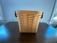 Longaberger RARE 2003 Oval Waste Basket-Warm Brown w/Leather Handles & Protector