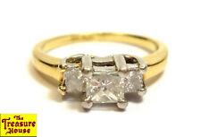 3-Stone Princess Cut Diamond Engagment Ring Platinum & 14K Gold Size 5 0.5 CT TW