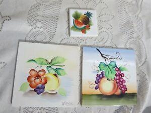 "3 Vintage Hand Painted Tiles Fruit Designs Japan 2-6"" 1-3"""