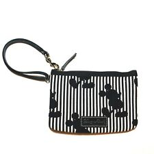 Disney Dooney and Bourke Mickey Stripes Wristlet 2011 Canvas Black and White