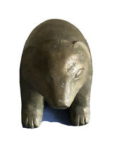 Antique American Folk Art Figurine Of Bear. Redwood, Signed