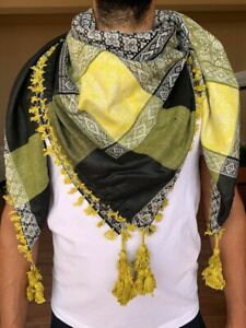 Shemagh -Handmade scarf of warm cotton 2021 in black and yellow color