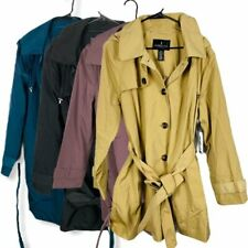 London Fog Women's Trench Coat Rain Jacket Hoodie Pockets Black Teal Tan Purple