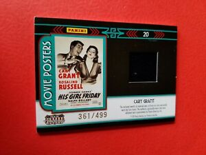 CARY GRANT WORN RELIC SWATCH CARD #d361/499 AMERICANA MOVIE POSTERS GIRL FRIDAY