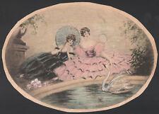 DUA DAME CON CIGNO Ladies Swan - Litografia Originale 1800 Ovale Oval