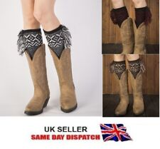 Pair of Women's Knitted Boot Cuffs Toppers Short Ankle  Shin Leg Warmers