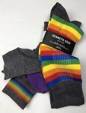 Kenneth Cole Mens Womens Socks 2 Pairs Gay Pride Rainbow Gray Medium NEW