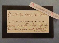 Vicomte Georges d'AVENEL Historien économiste - Neuilly sur Seine CDV autographe