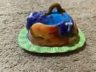 Studio Designworks Hand Painted Bright Colorful CATS Covered Butter Dish HTF