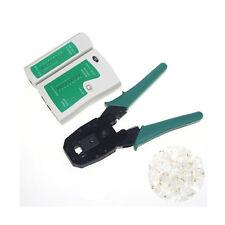 Cable Tester+Crimp Crimper+100 RJ45 CAT5 CAT5e Connector Plug Network Tool Kit
