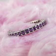 Pandora Sterling Silver Purple CZ Eternity Band 190618CFP Ring Size 6.75 LDA4