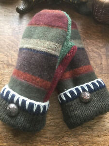 WOOL Upcycled sweater mittens, one size, fleece lined