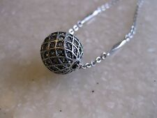FOSSIL Silver Tone Chain Necklace Slider Focal Bead Studded w/ Tiny Crystal