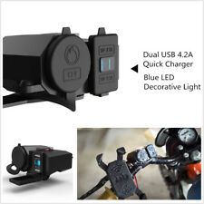 Dual USB ATV Moped Scooter Charger Bar Mirror Mount Cigarette Lighter Socket