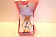 Genuine Betsey Johnson Out To Sea Rose Gold Boyfriend Crystal Face Watch NIB