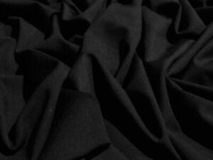 HEAVY 4 WAY  STRETCH NEOSPUN JERSEY-BLACK- DRESS FABRIC-FREE P+P