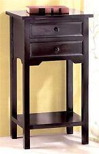 Popular ** BLACK CEDAR WOOD SIDE, END OR NIGHT TABLE W/ 2 DRAWERS & SHELF ** NIB