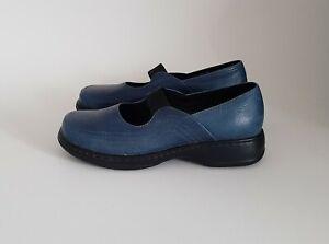 Dansko Elle Women US 9.5-10 M EUR 40 Blue Pebbled Leather Mary Jane Slip On Shoe