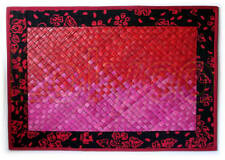 Handmade Place Mat Red Pink With Batik Edge