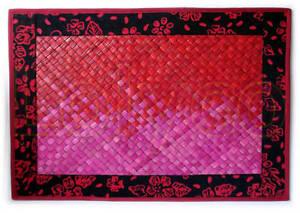 Handmade Place Mat Red Pink With Batik Edge