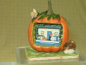 Miniature Pumpkin House with Trick or Treaters