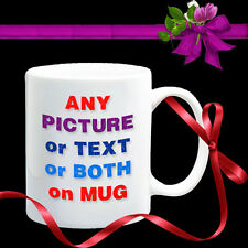 10 PERSONALISED MUGS-YOUR PHOTO+TEXT Coffee Tea Gift. Personalise Each different