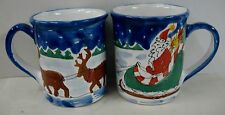 "Starbucks Santa And Reindeer 4-3/4"" Coffee Mugs Set Of Two Hungary Village"