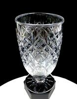 """ANGLO IRISH THIN BLOWN CUT CRYSTAL DIAMOND WAFER STEM FOOTED 7 3/4"""" VASE 1800's"""