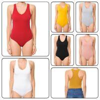 Women's Basic Solid V Neck Bodysuit Stretch Leotard Plus Size(1XL-3XL)