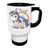 Magic Unicorn And Rainbow White/Steel Travel 14oz Mug ff526t