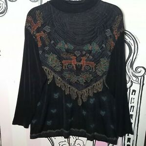 Womens Size 16 Vintage Christmas Reindeer Black Long Sleeve Stretchy Shiny Top