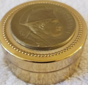 Vintage Round Napoleon French Round Brass Desk Thermometer w/Hinged Cover France
