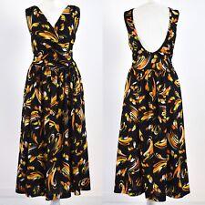 BLACK SCOOP BACK 1970s VINTAGE DRESS 12