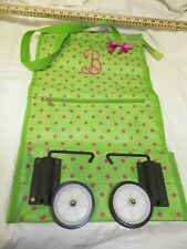 MONOGRAMMED B Green Pink POKA DOT COLLAPSIBLE WHEELED FOLDING TOTE SHOPPING BAG