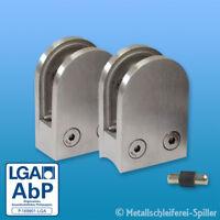 AbP Edelstahl Glashalter Glasklemme Klemmhalter rund diverse Größen V2A V4A