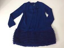 Simonetta Mini Blue Dress 50% LANA Wool Age 5 Years Size 115